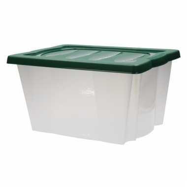 Plastic opbergdoos met groene deksel kerstversiering