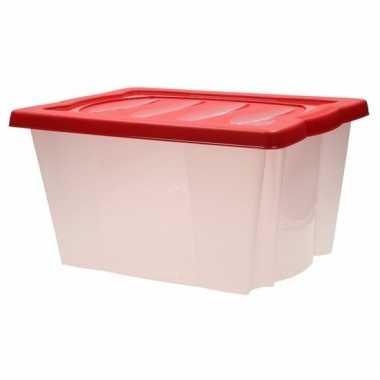 Plastic opbergdoos met rode deksel kerstversiering