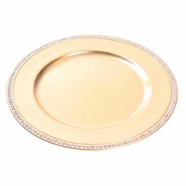 Rond gouden bord met steentjes kerstversiering