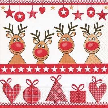 Sjieke kerst servetten met rendieren kerstversiering