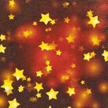 Sjieke kerst servetten met sterren kerstversiering 10076401