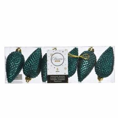 Smaragd groene kerstboom dennenappel set 8 cm kerstversiering