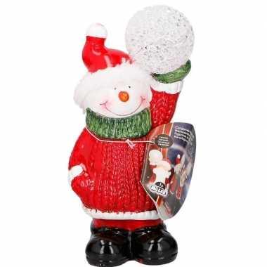 Sneeuwpop met led kerst decoratie 17 cm kerstversiering