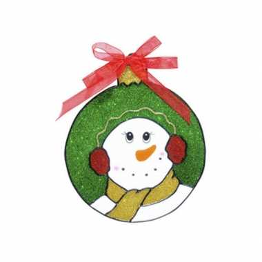 Sneeuwpop raam sticker 18 cm kerstversiering