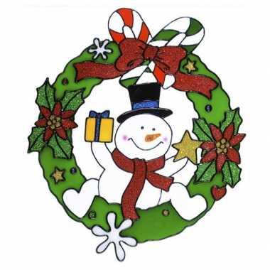 Sneeuwpop raam sticker 30 cm kerstversiering