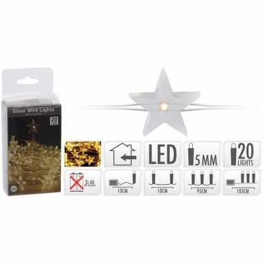 Sterren lichtsnoer op batterij 20 warm witte lampjes kerstversiering