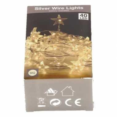 Sterren lichtsnoer op batterij 40 warm witte lampjes kerstversiering