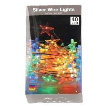 Sterren lichtsnoer op batterij 50 gekleurde lampjes kerstversiering