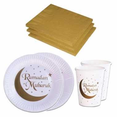 Tafel dekken ramadan mubarak feestartikelen wit/goud 16x bordjes/16x drink bekers/20x servetten kerstversiering