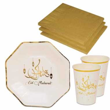 Tafel dekken ramadan mubarak feestartikelen wit/goud 8x bordjes/8x drink bekers/20x servetten kerstversiering