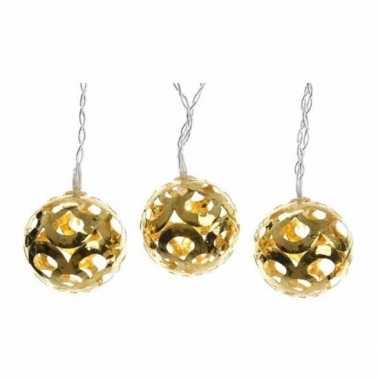 Verlichte led snoer met gouden ballen 180 cm kerstversiering