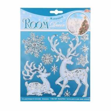 Winter decoratie raamstickers hert kerstversiering