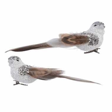 Wit met bruine vogel met glitters op clip 13 cm kerstversiering