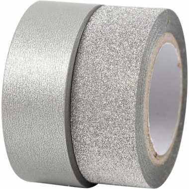 Zilver knutsel tape 2 rollen kerstversiering