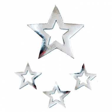 Zilveren sterren hangdecoratie 60cm kerstversiering