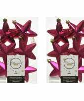 12x bessen roze kunststof sterren kerstballen kersthangers 7 cm kerstversiering