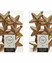 12x camel bruine kunststof sterren kerstballen kersthangers 7 cm kerstversiering