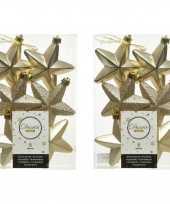 12x champagne kunststof sterren kerstballen kersthangers 7 cm kerstversiering
