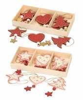 12x houten kersthangers kerstornamenten wit en rode figuurtjes 10 cm kerstversiering