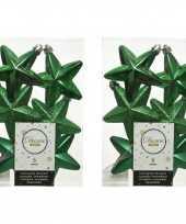 12x kerstgroene kunststof sterren kerstballen kersthangers 7 cm kerstversiering
