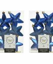 12x kobalt blauwe kunststof sterren kerstballen kersthangers 7 cm kerstversiering