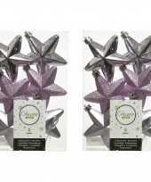 12x lila paarse kunststof sterren kerstballen kersthangers 7 cm kerstversiering