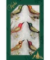 12x luxe glazen gekleurde vogels op clip 9 cm kerstversiering