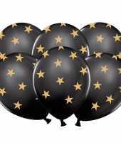 12x nieuwjaar ballonnen zwart met gouden sterren kerstversiering