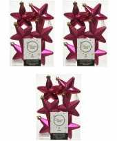 18x bessen roze kunststof sterren kerstballen kersthangers 7 cm kerstversiering