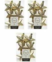 18x champagne kunststof sterren kerstballen kersthangers 7 cm kerstversiering
