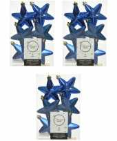 18x kobalt blauwe kunststof sterren kerstballen kersthangers 7 cm kerstversiering