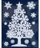 1x kerst raamversiering raamstickers witte kerstboom 29 5 x 40 cm kerstversiering