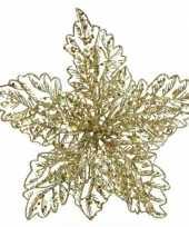 1x kerstbloemen versiering gouden glitter kerstster poinsettia op clip 23 x 10 cm kerstversiering