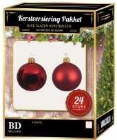 24 stuks glazen kerstballen pakket kerst rood 6 cm kerstversiering
