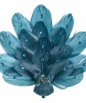 2x kerstboom versiering blauwe glitter vogel pauw op clip 17 cm kerstversiering