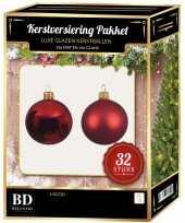32 stuks mix glazen kerstballen pakket kerst rood 6 8 10 cm kerstversiering