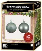 32 stuks mix glazen kerstballen pakket mintgroen 6 8 10 cm kerstversiering