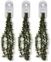 3x groene dunne kerst slingers met rode versiering 150 cm kerstversiering