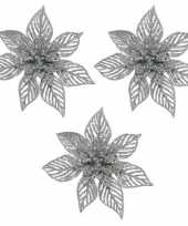 3x kerstbloem versiering beige glitter kerstster poinsettia op clip 23 x 5 cm kerstversiering
