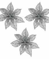3x kerstbloem versiering zilveren glitter kerstster poinsettia op clip 23 x 10 cm kerstversiering 10169711