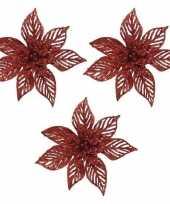 3x kerstbloemen versiering rode glitter kerstster poinsettia op clip 23 x 5 cm kerstversiering