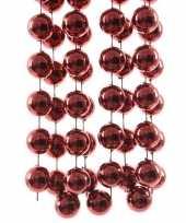 3x stuks xxl donker rode kerstversiering kralenslingers 270 cm kerstversiering