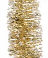4x kerstboom folie slingers met sneeuw goud 200 cm kerstversiering