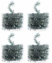 4x kerstboom folie slingers met ster mint groen 700 cm kerstversiering