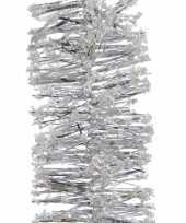 5x kerstboom folie slingers met sneeuw zilver 200 cm kerstversiering
