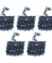 5x kerstboom folie slingers met ster blauw 700 cm kerstversiering