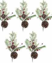 5x kerststukje instekertjes 28 cm kerstversiering