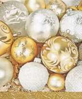 60x gouden kerst servetten met kerstballen kerstversiering