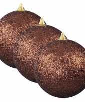 6x bruine grote kerstballen met glitter kunststof 13 5 cm kerstversiering