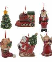 6x kerstornamenten hangers kerstfiguren 8 cm kerstversiering 10205672